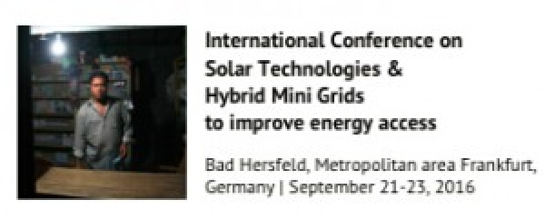 Solar Technologies and Hybrid Mini Grids 2016, 21-23 September 2016, Frankfurt, Germany.